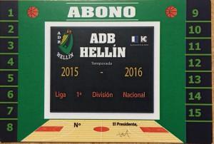 Abono del ADB Hellín temporada 2015-2016