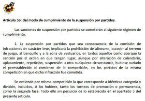 Articulo 56 del Código Disciplinario de la RFEF Punto 1