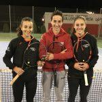 Los tenistas Blanca Cortijo, Jorge Pérez y Ana Isabel Fraile