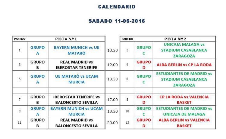 Calendario sábado del Torneo Internacional de Minibasket Marca Villa de La Roda