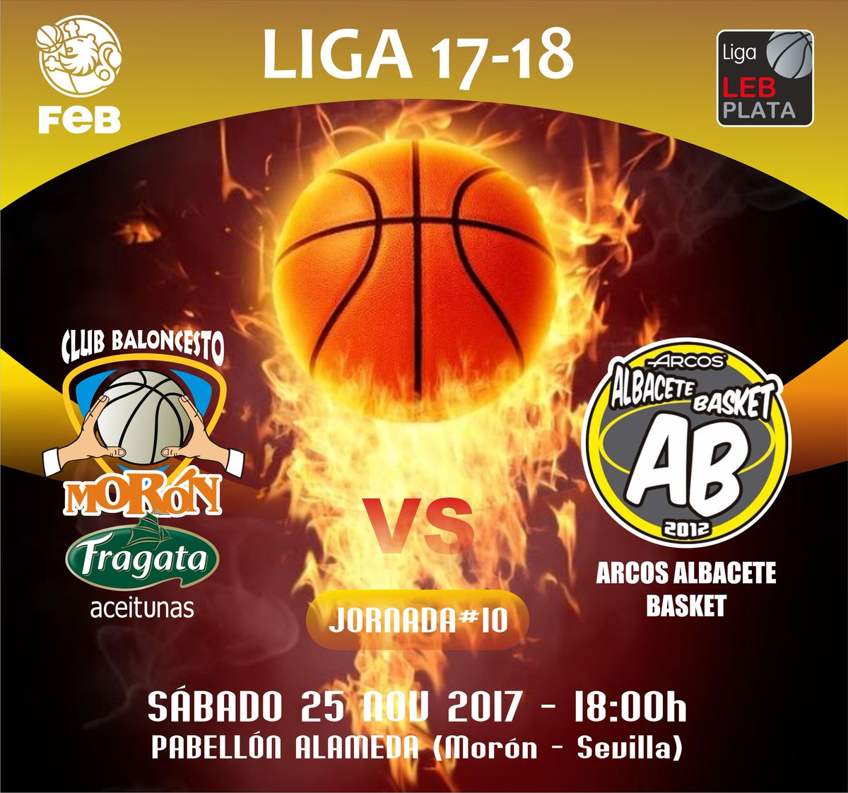 Cartel Aceitunas Fragata CB Morón - Albacete Basket