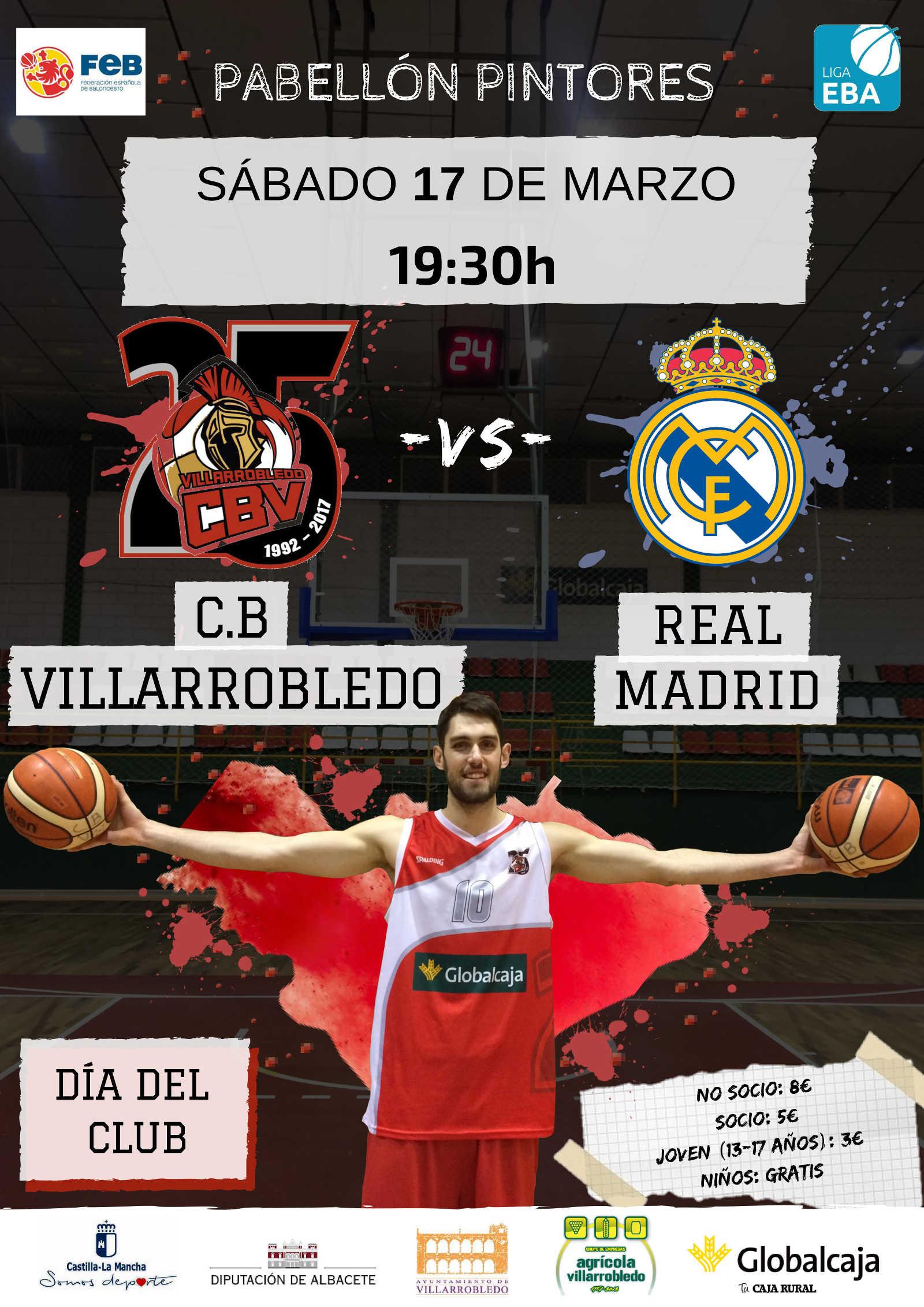Cartel CB Villarrobledo - Real Madrid