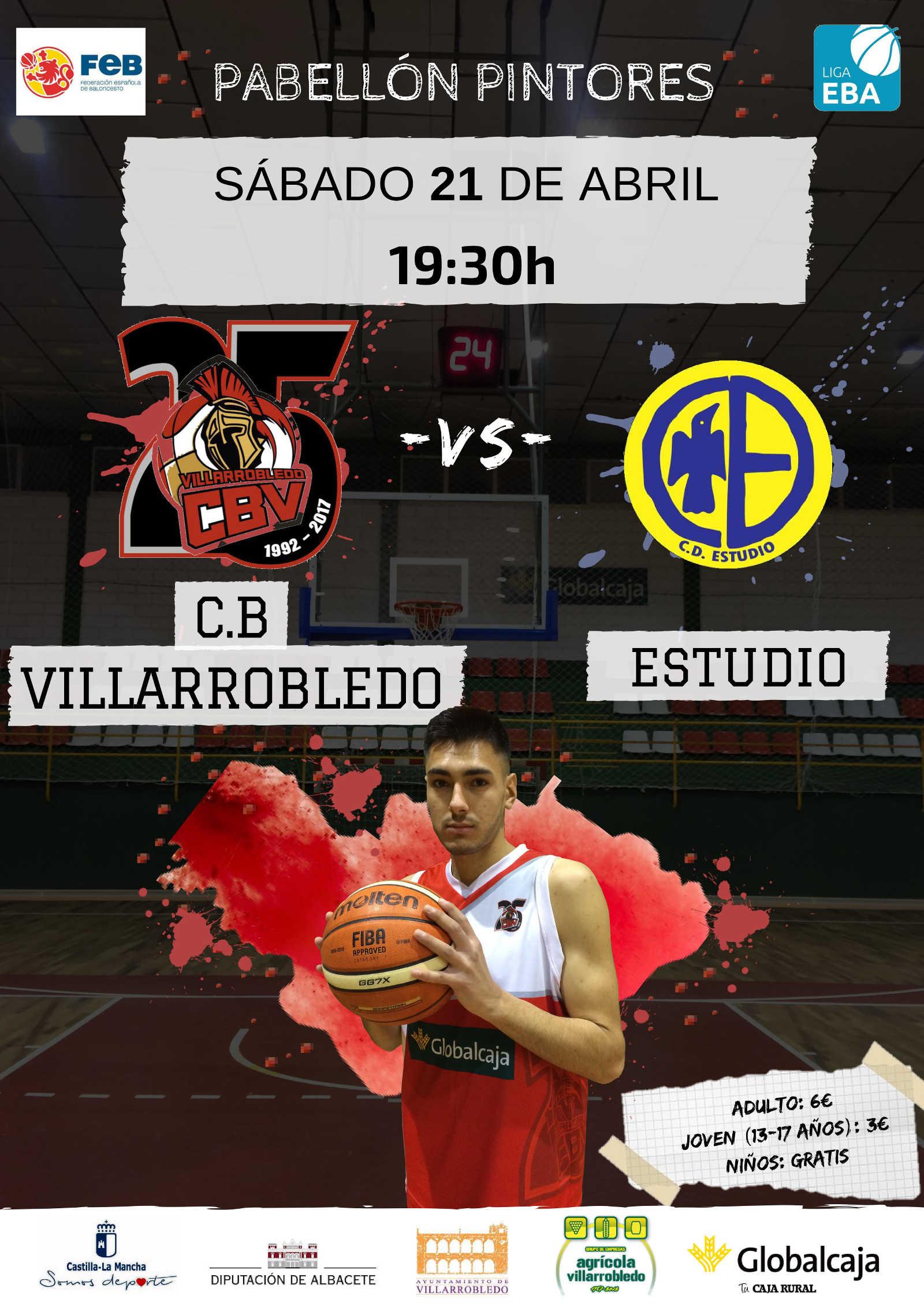 Cartel CB Villarrobledo vs CD Estudio