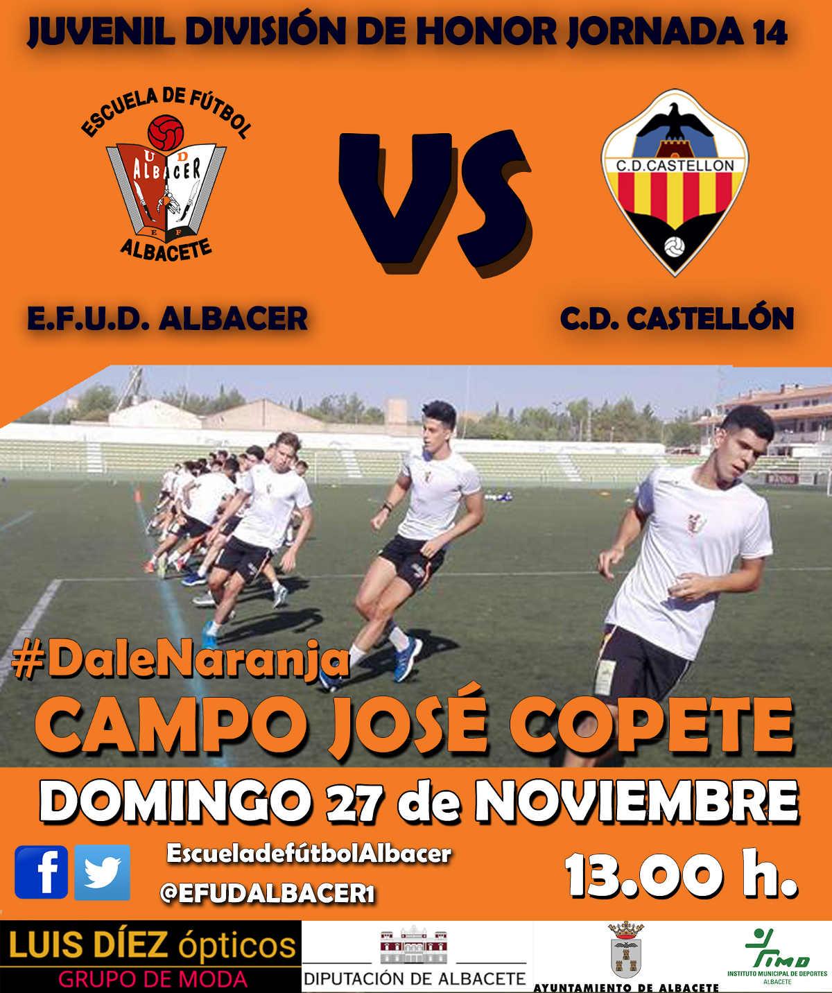Cartel del partido entre EFUD Albacer y CD Castellón