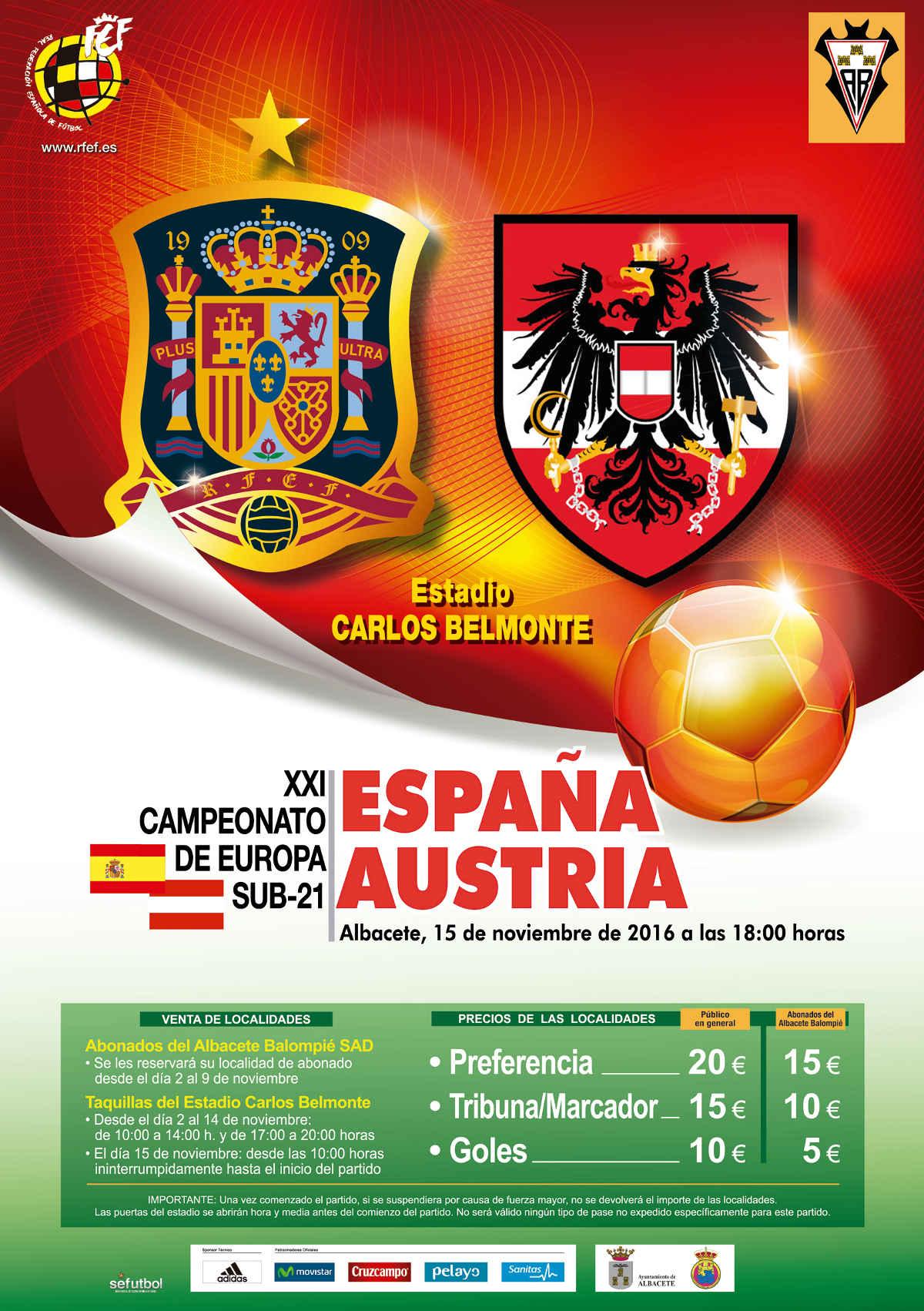 Cartel del partido entre España y Austria Sub 21