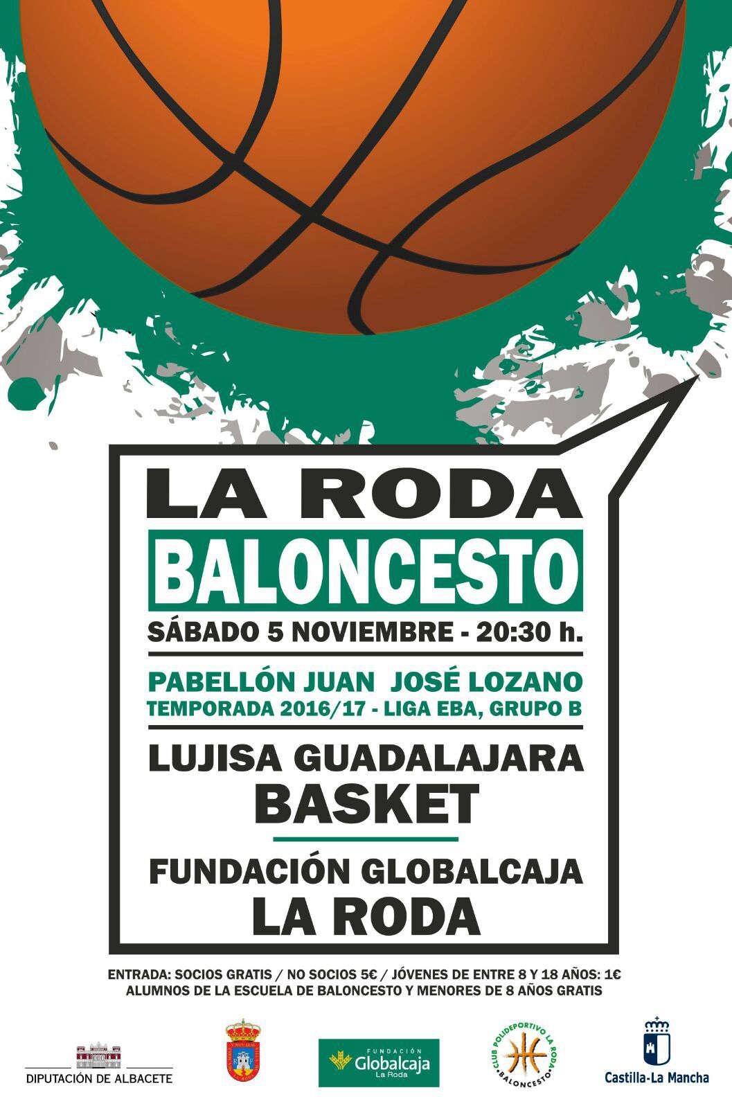 Cartel Fundación Globalcaja La Roda - Lujisa Guadalajara Basket