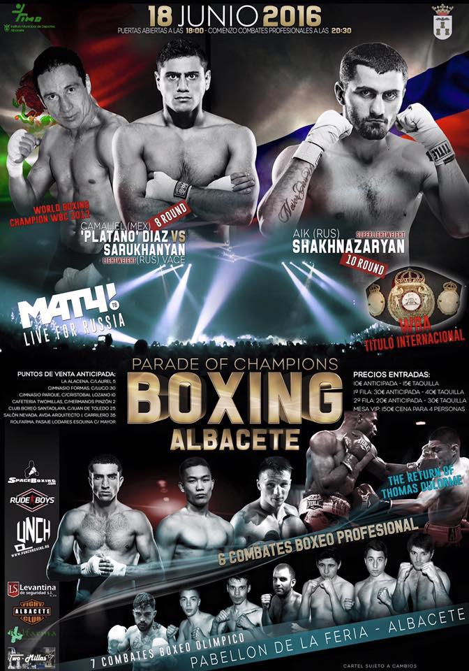 Cartel Velada Internacional Boxeo Albacete 18 de junio