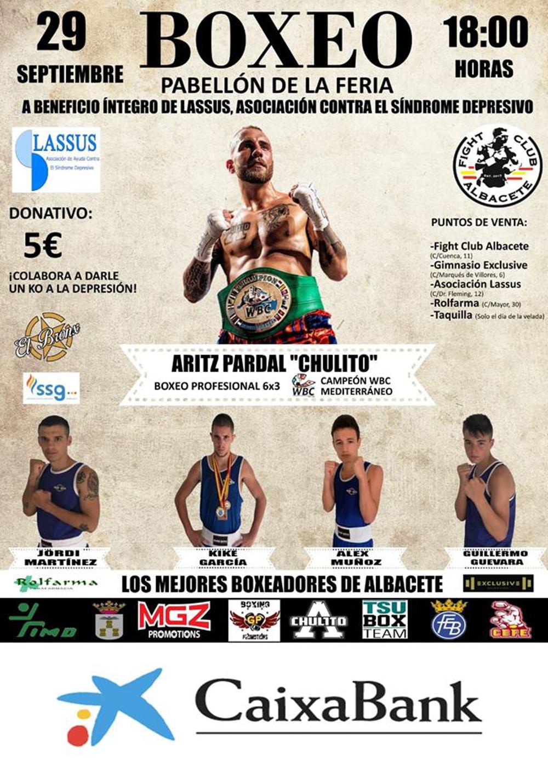 Cartel Velada de Boxeo a beneficio de Asociación Lassus