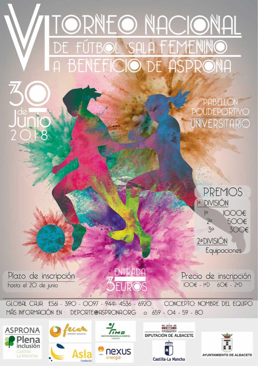 Cartel del VI Torneo de Fútbol Sala Femenino a beneficio de Asprona