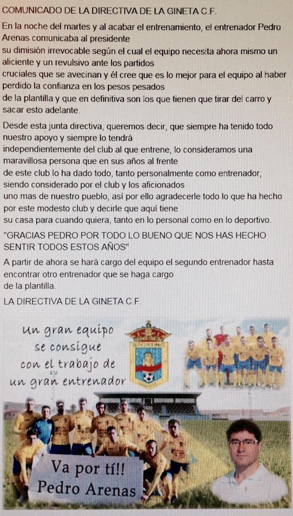 Comunicado de la Directiva del Sporting de La Gineta