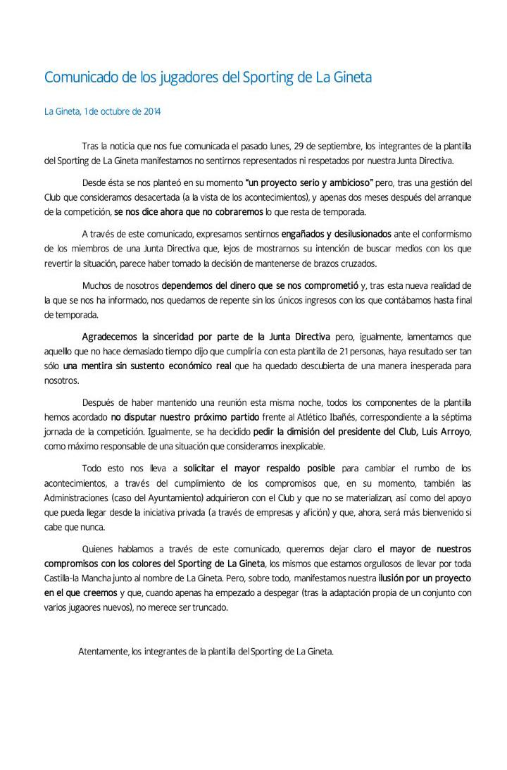 Comunicado del Sporting de La Gineta