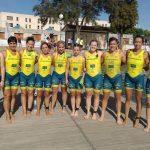 Equipo femenino del Casman Triatlón Albacete en la prueba de Sevilla