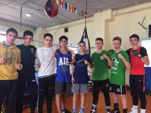 Integrantes del Fight Club Albacete con la Selección Española de Boxeo