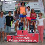 Podio femenino en la VII Carrera Popular de Mahora (Foto: Paco Villaescusa)