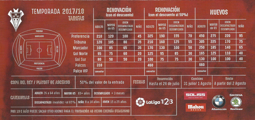 Precios Abonos Albacete Balompié Temporada 2017-18