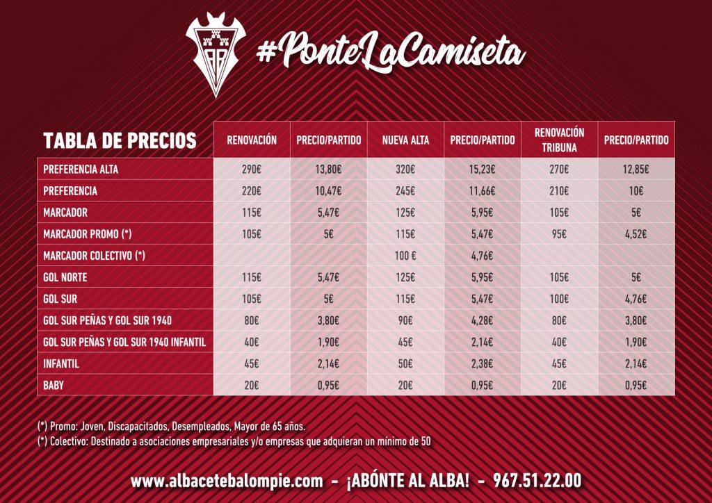 Precios Abonos Albacete Balompié Temporada 2018-19