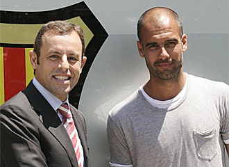 Sandro Rosell y Pep Guardiola