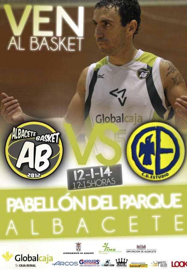 Cartel del encuentro entre Albacete Basket y CD Estudio