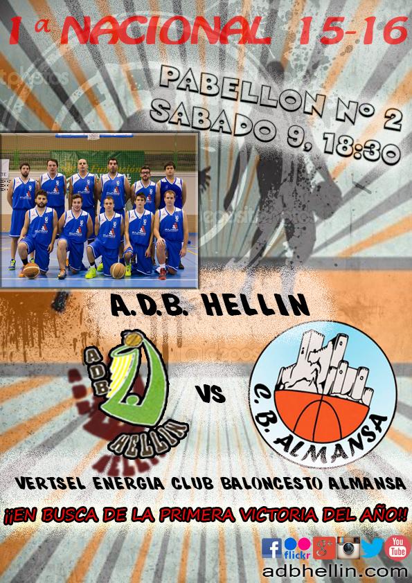 Cartel del partido entre ADB Hellín y CB Almansa
